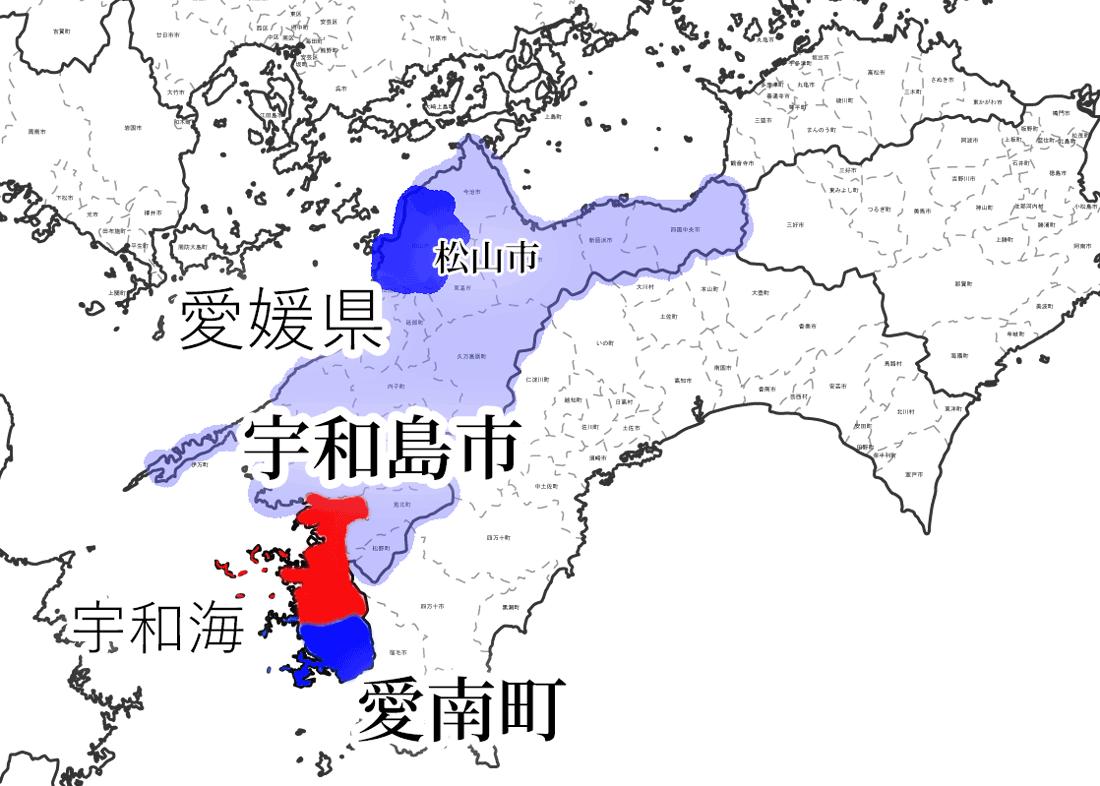 四国の地図の中の宇和島市