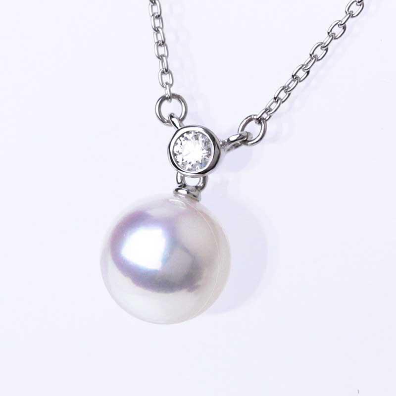 アコヤ真珠の一粒パールネックレス